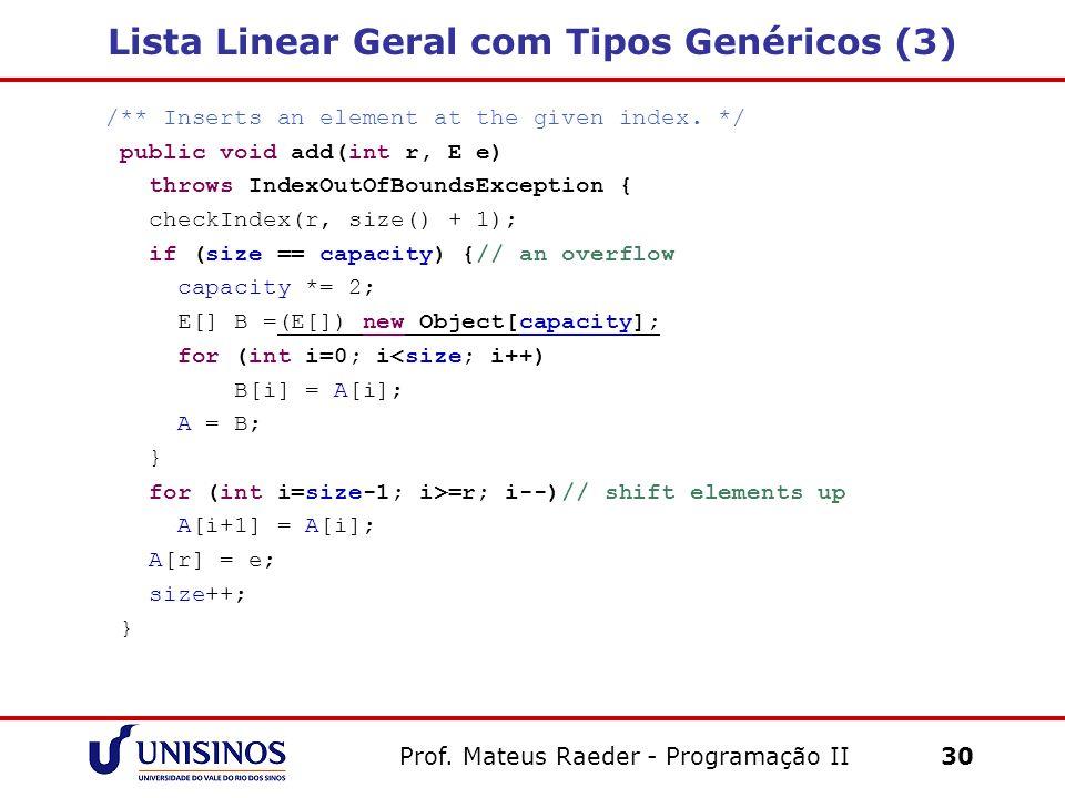 Lista Linear Geral com Tipos Genéricos (3)