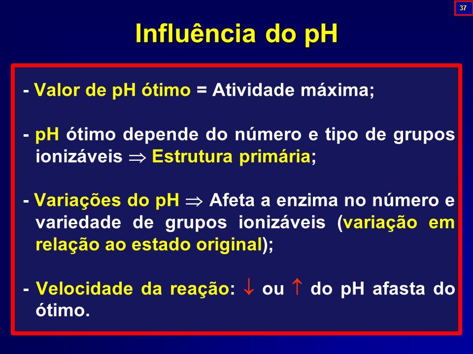 Influência do pH - Valor de pH ótimo = Atividade máxima;
