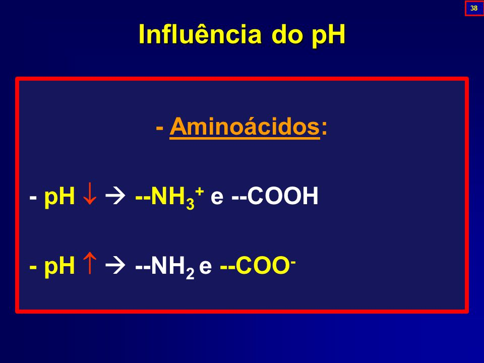 Influência do pH - Aminoácidos: - pH   --NH3+ e --COOH
