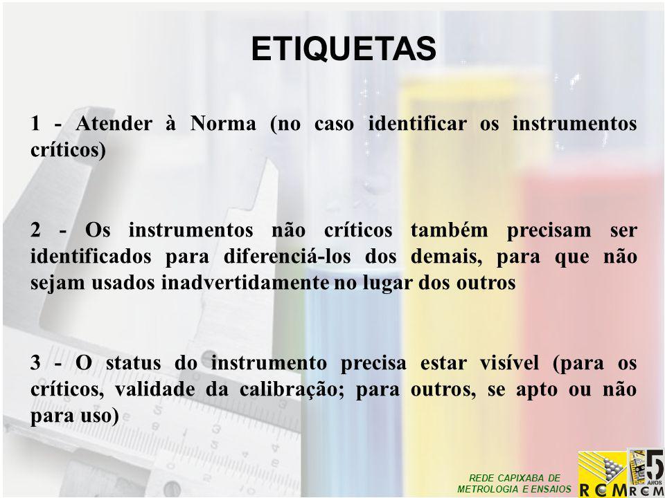ETIQUETAS 1 - Atender à Norma (no caso identificar os instrumentos críticos)