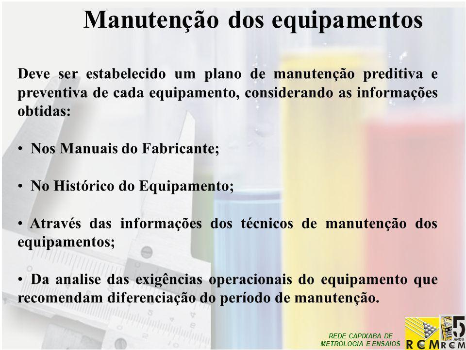 Manutenção dos equipamentos