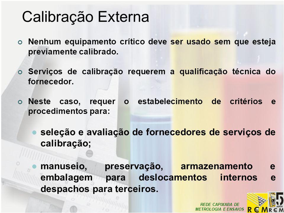 Calibração Externa Nenhum equipamento crítico deve ser usado sem que esteja previamente calibrado.