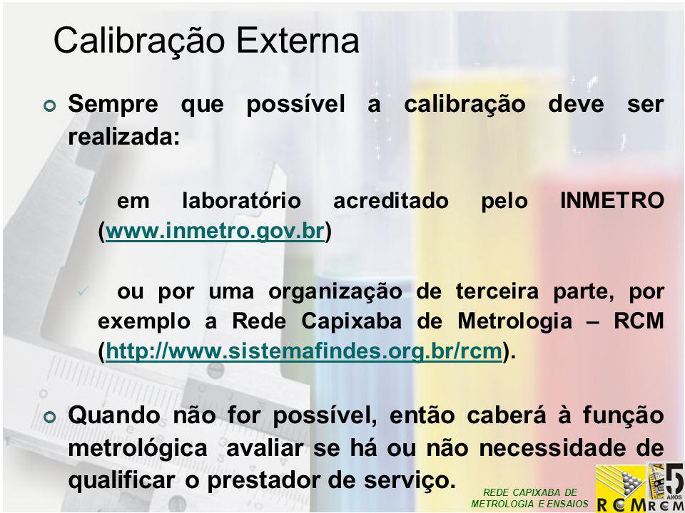 Calibração Externa Sempre que possível a calibração deve ser realizada: em laboratório acreditado pelo INMETRO (www.inmetro.gov.br)