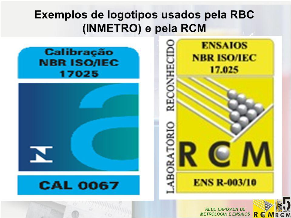 Exemplos de logotipos usados pela RBC (INMETRO) e pela RCM