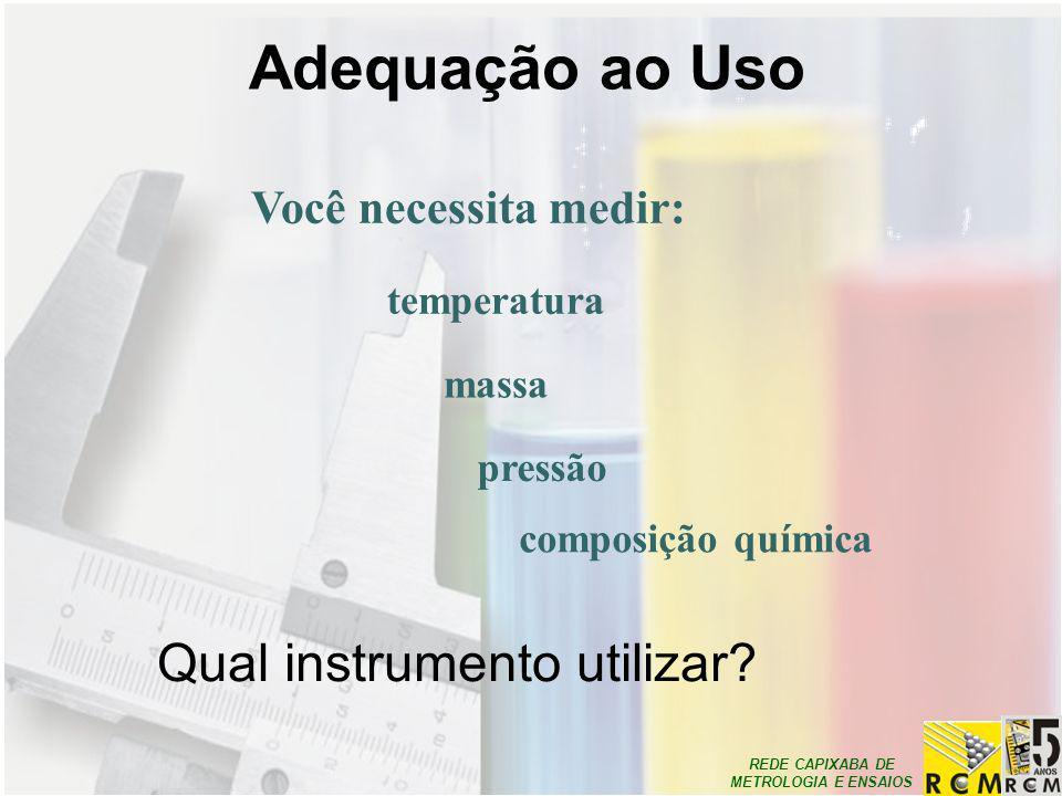 Adequação ao Uso Qual instrumento utilizar Você necessita medir: