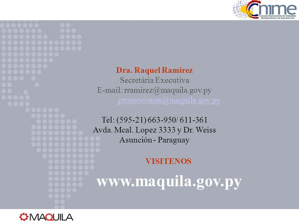 www.maquila.gov.py Dra. Raquel Ramirez Secretária Executiva