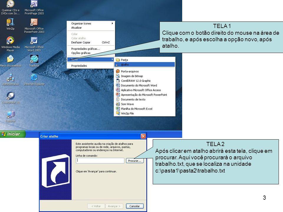 TELA 1 Clique com o botão direito do mouse na área de trabalho, e após escolha a opção novo, após atalho.