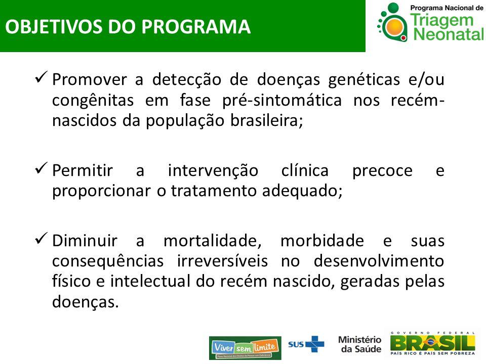 OBJETIVOS DO PROGRAMA Promover a detecção de doenças genéticas e/ou congênitas em fase pré-sintomática nos recém-nascidos da população brasileira;