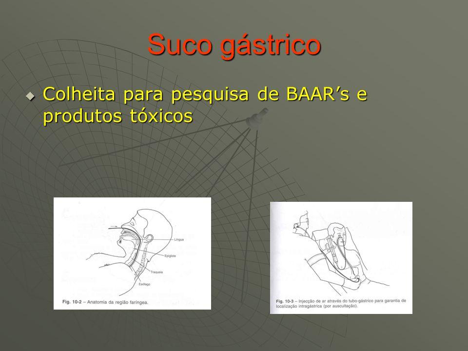 Suco gástrico Colheita para pesquisa de BAAR's e produtos tóxicos