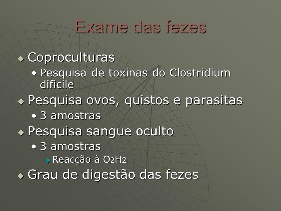 Exame das fezes Coproculturas Pesquisa ovos, quistos e parasitas