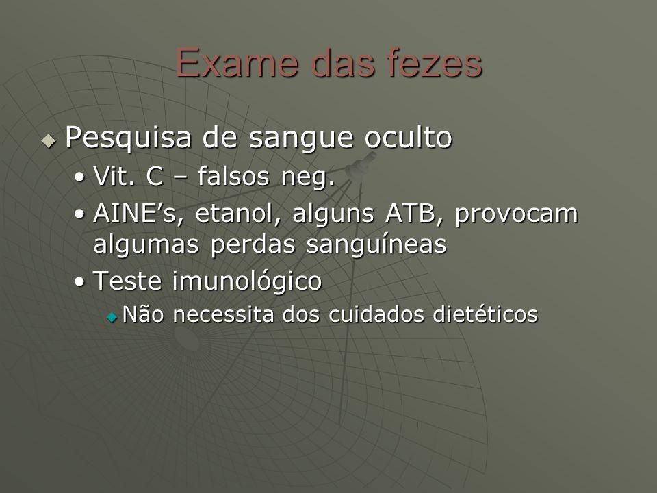 Exame das fezes Pesquisa de sangue oculto Vit. C – falsos neg.