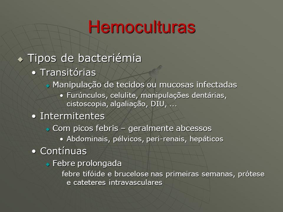 Hemoculturas Tipos de bacteriémia Transitórias Intermitentes Contínuas