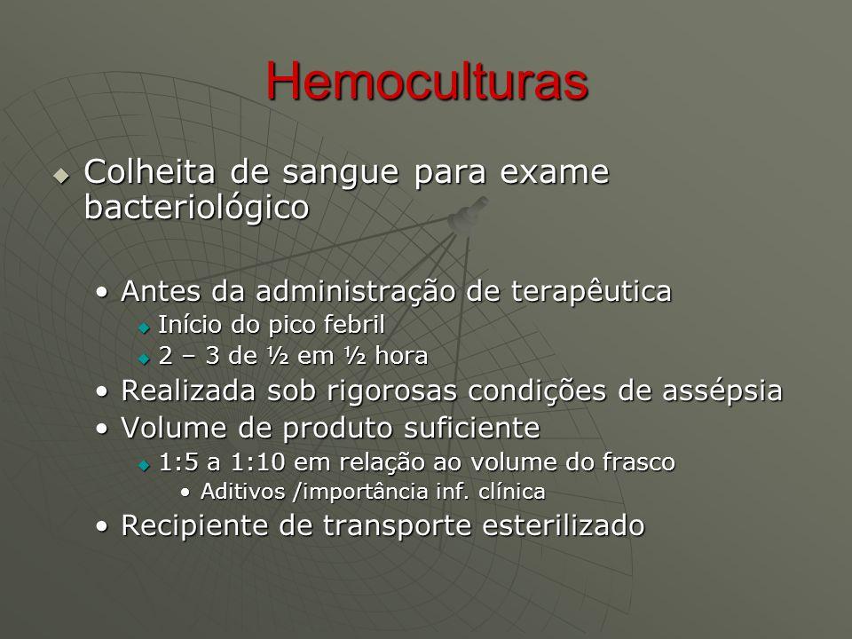 Hemoculturas Colheita de sangue para exame bacteriológico