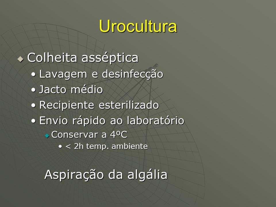 Urocultura Colheita asséptica Aspiração da algália