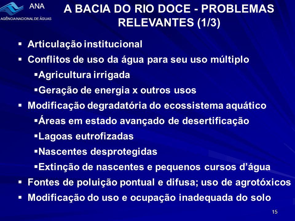 A BACIA DO RIO DOCE - PROBLEMAS RELEVANTES (1/3)