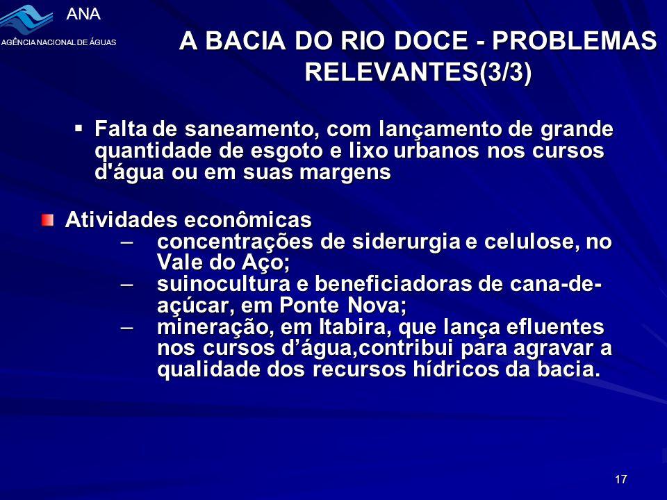 A BACIA DO RIO DOCE - PROBLEMAS RELEVANTES(3/3)