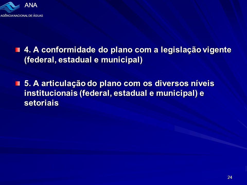 4. A conformidade do plano com a legislação vigente (federal, estadual e municipal)