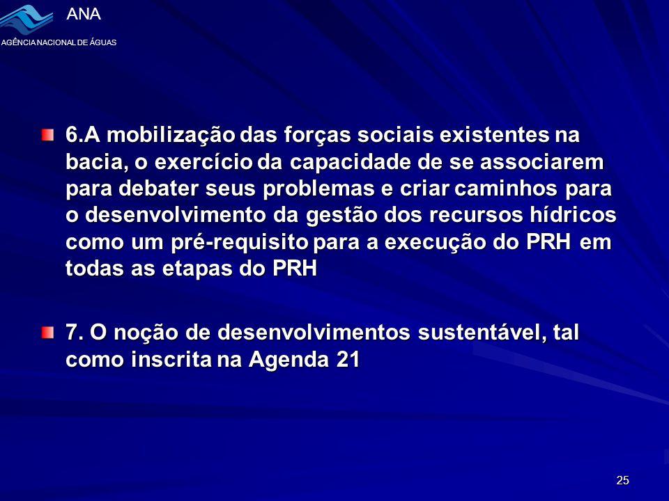 6.A mobilização das forças sociais existentes na bacia, o exercício da capacidade de se associarem para debater seus problemas e criar caminhos para o desenvolvimento da gestão dos recursos hídricos como um pré-requisito para a execução do PRH em todas as etapas do PRH