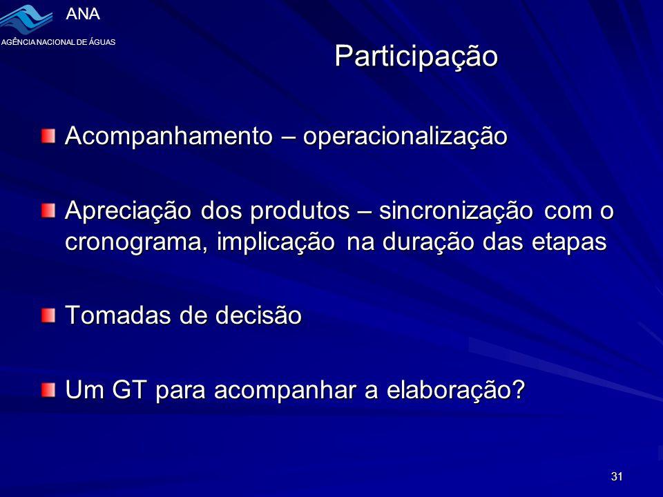 Participação Acompanhamento – operacionalização