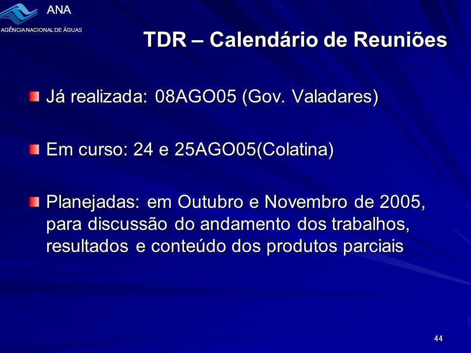 TDR – Calendário de Reuniões