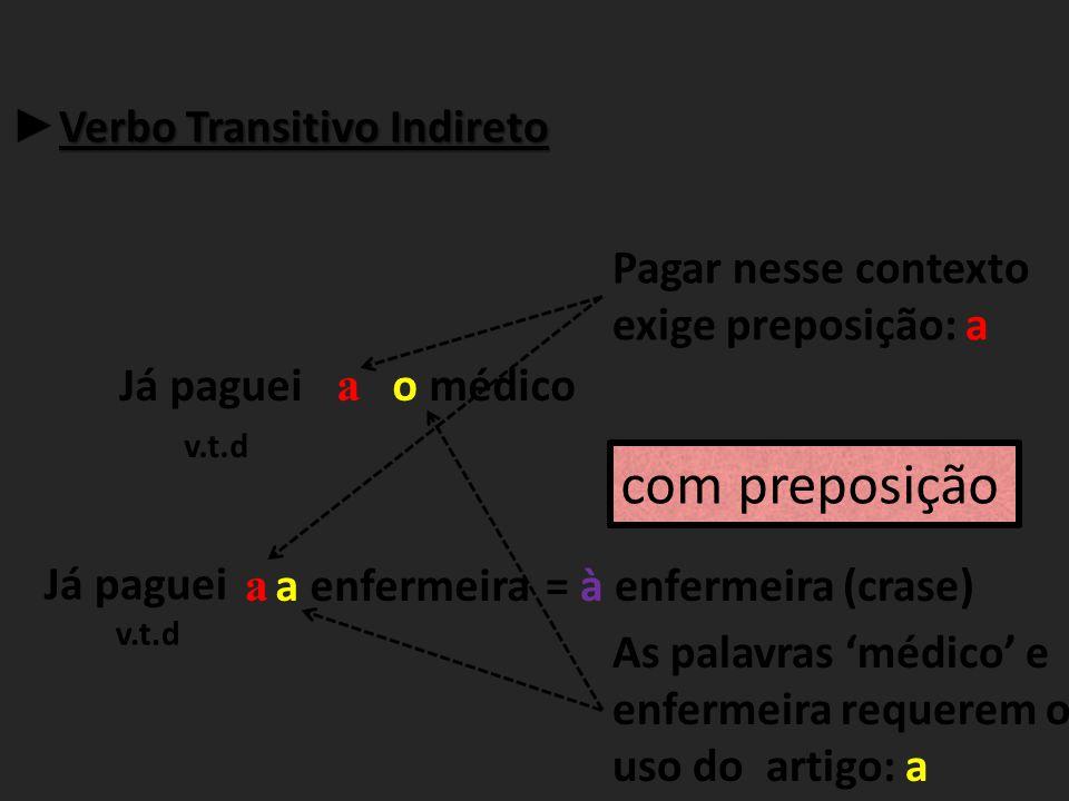 com preposição ►Verbo Transitivo Indireto