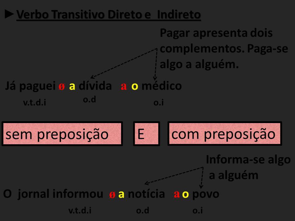 sem preposição E com preposição ►Verbo Transitivo Direto e Indireto