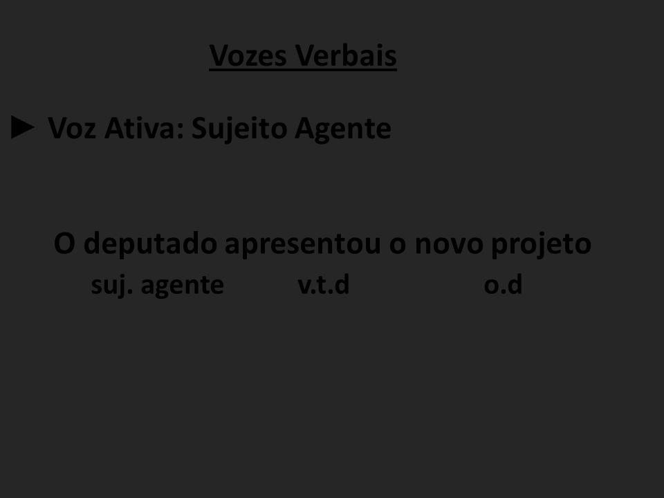 Vozes Verbais ► Voz Ativa: Sujeito Agente. O deputado apresentou o novo projeto.