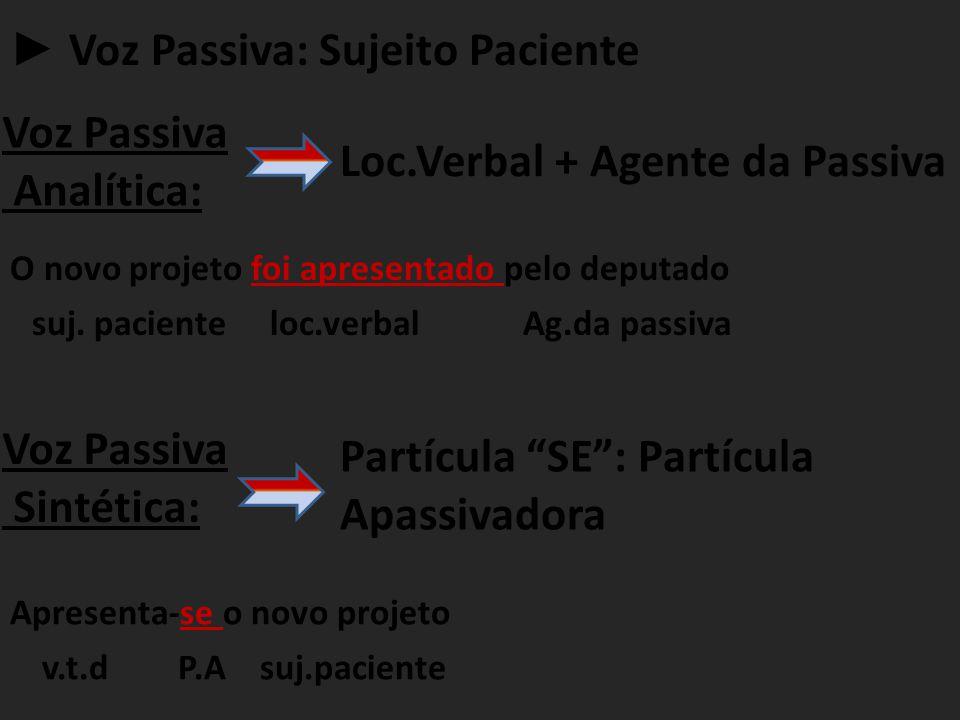 ► Voz Passiva: Sujeito Paciente