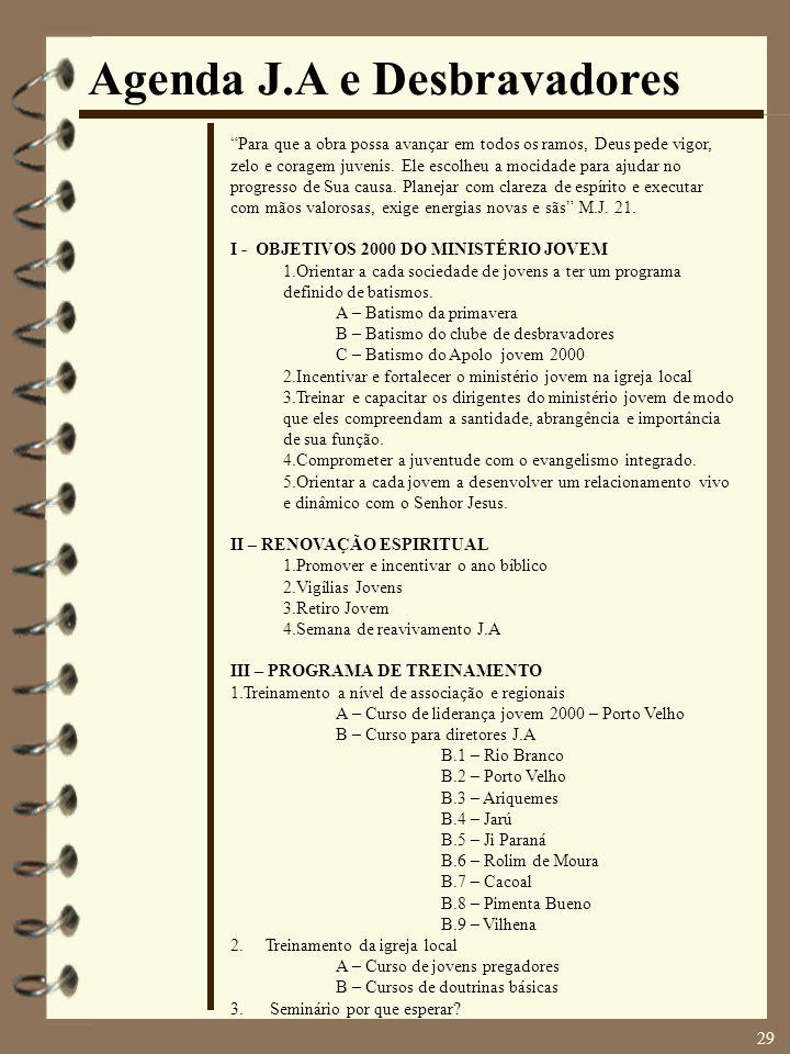 Agenda J.A e Desbravadores