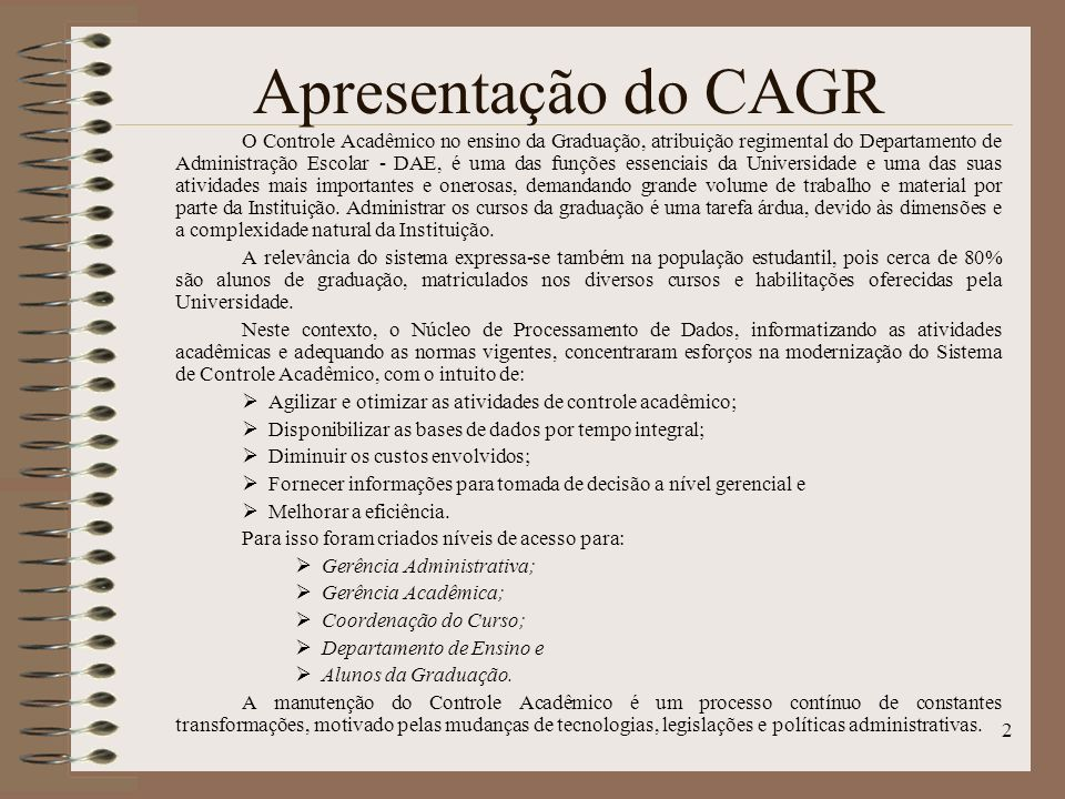 Apresentação do CAGR