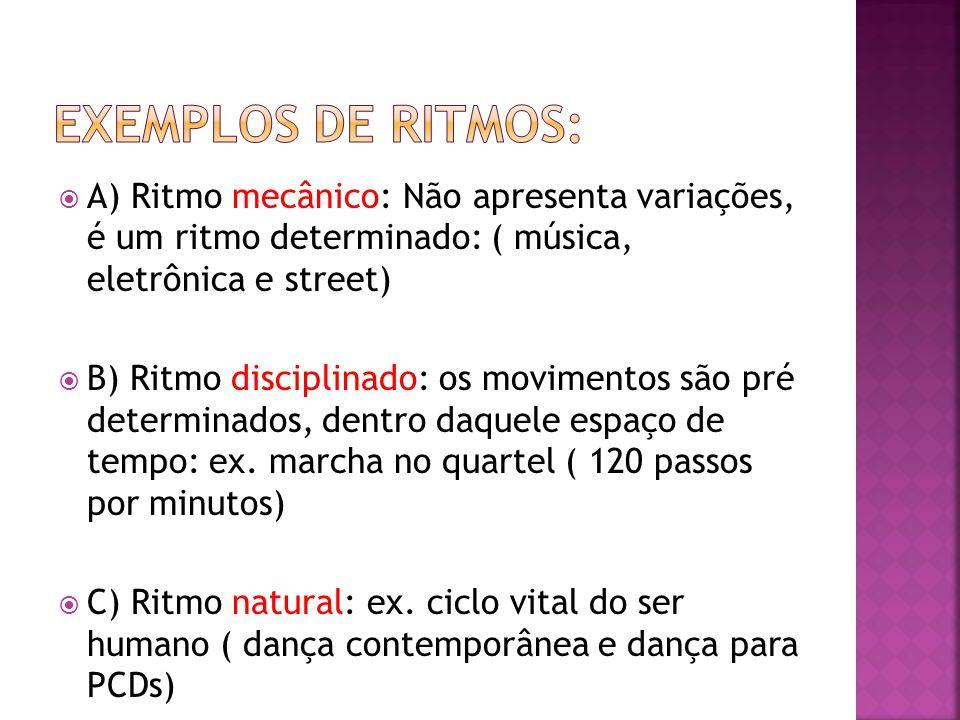 Exemplos de ritmos: A) Ritmo mecânico: Não apresenta variações, é um ritmo determinado: ( música, eletrônica e street)