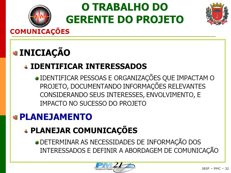 O TRABALHO DO GERENTE DO PROJETO