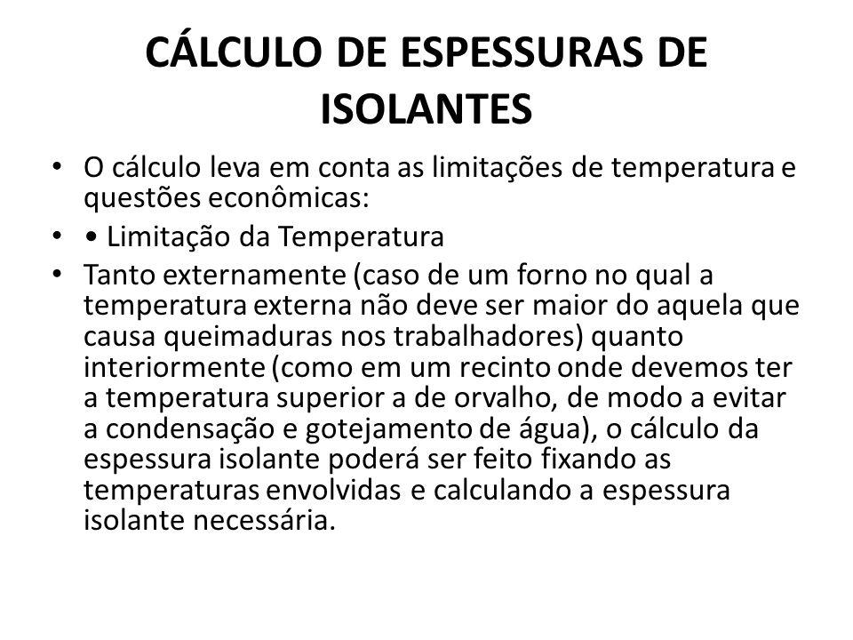 CÁLCULO DE ESPESSURAS DE ISOLANTES