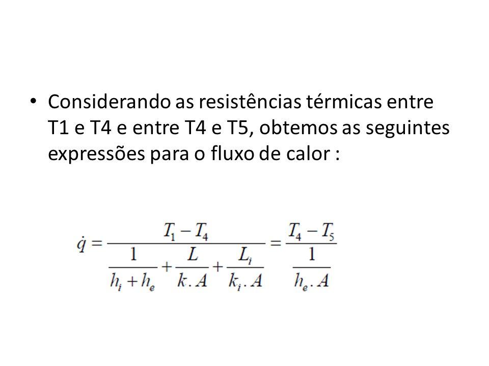 Considerando as resistências térmicas entre T1 e T4 e entre T4 e T5, obtemos as seguintes expressões para o fluxo de calor :