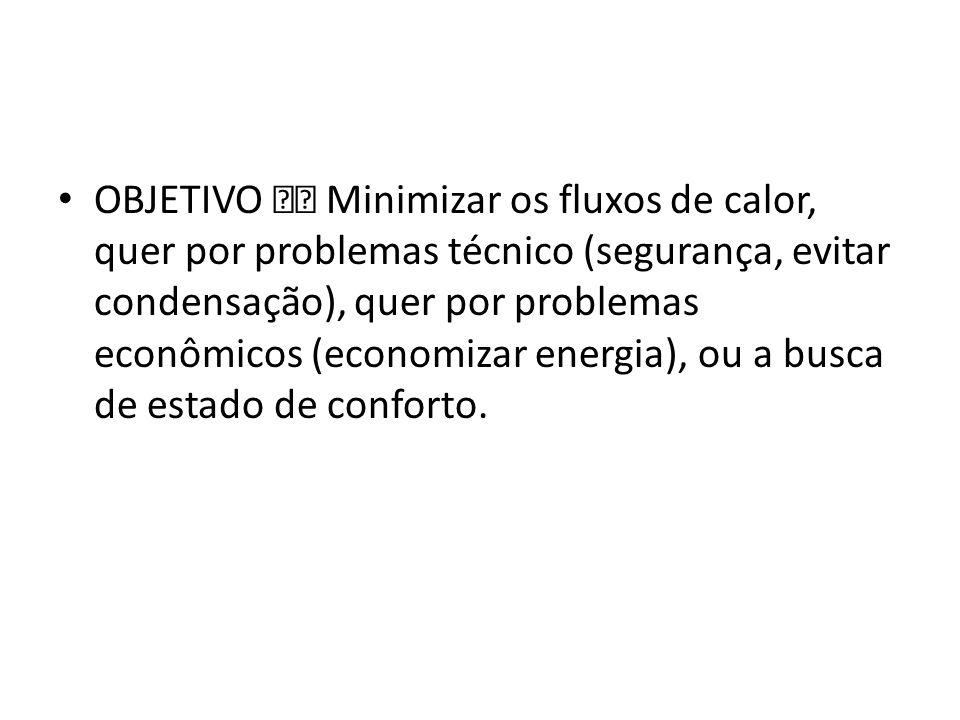 OBJETIVO  Minimizar os fluxos de calor, quer por problemas técnico (segurança, evitar condensação), quer por problemas econômicos (economizar energia), ou a busca de estado de conforto.