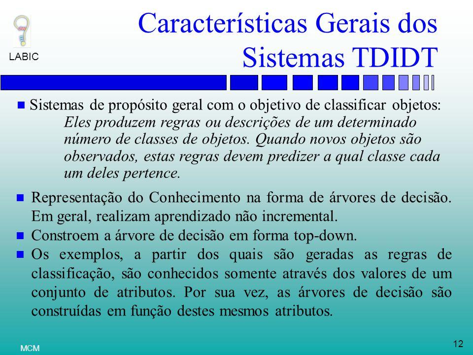 Características Gerais dos Sistemas TDIDT