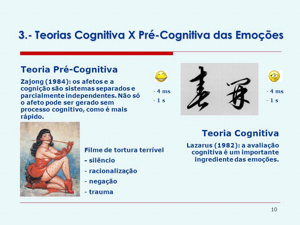 3.- Teorias Cognitiva X Pré-Cognitiva das Emoções