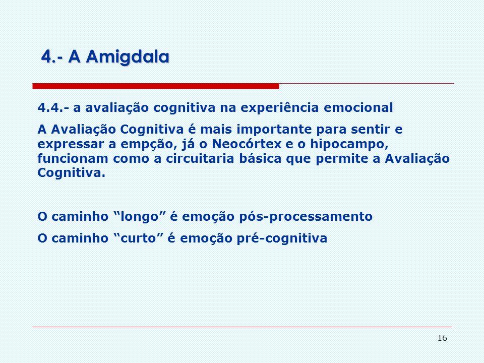 4.- A Amigdala 4.4.- a avaliação cognitiva na experiência emocional