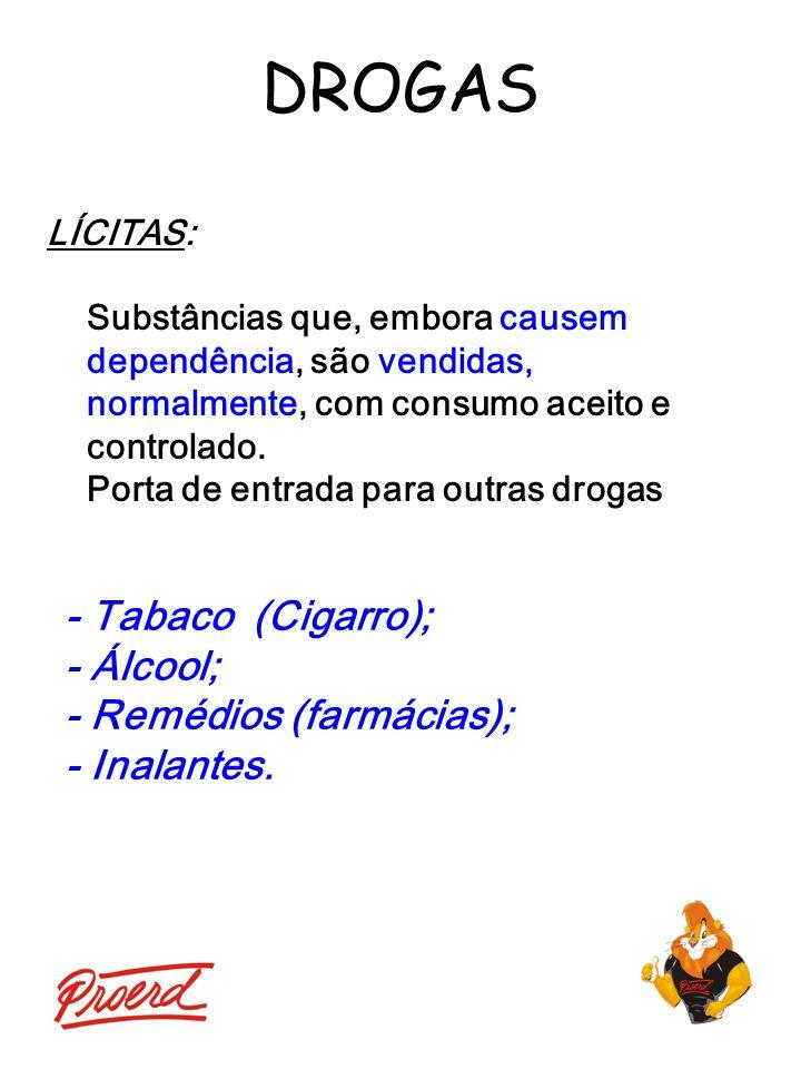 DROGAS - Tabaco (Cigarro); - Álcool; - Remédios (farmácias);