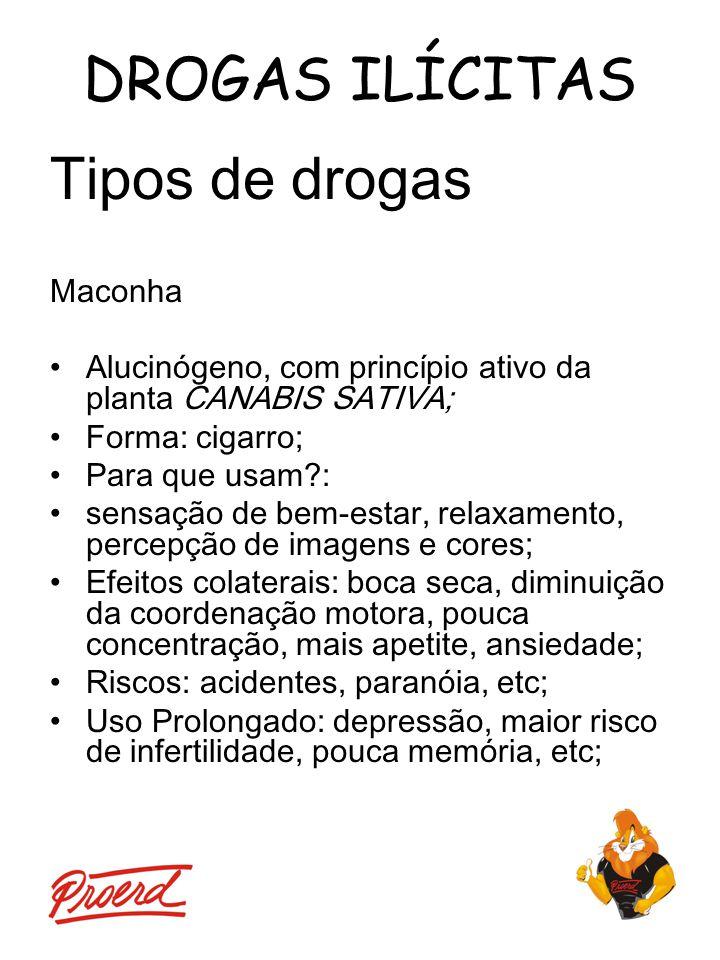DROGAS ILÍCITAS Tipos de drogas Maconha