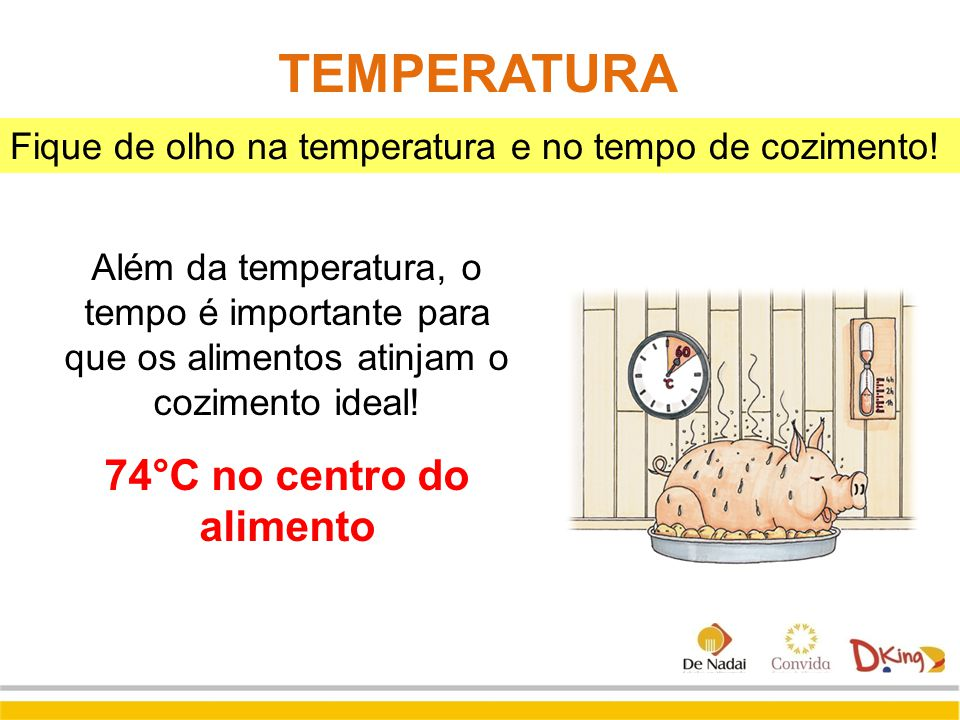 74°C no centro do alimento