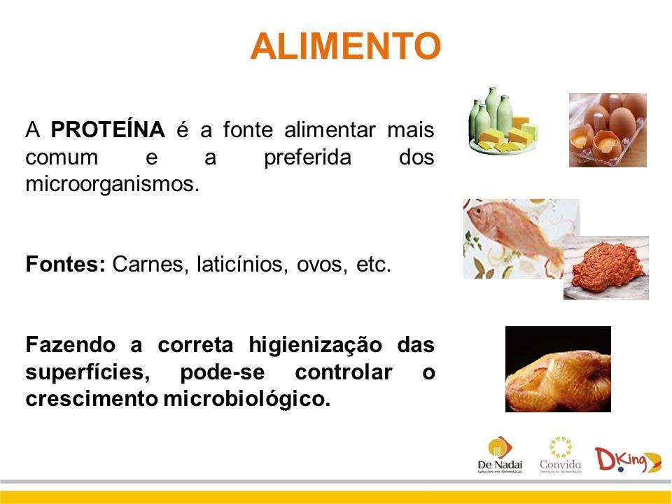 ALIMENTO A PROTEÍNA é a fonte alimentar mais comum e a preferida dos microorganismos. Fontes: Carnes, laticínios, ovos, etc.