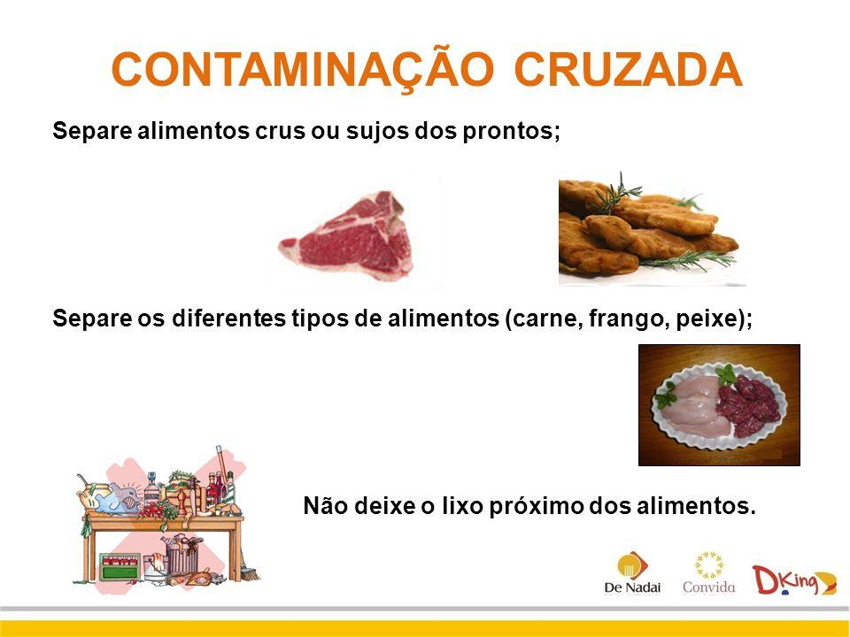 CONTAMINAÇÃO CRUZADA Separe alimentos crus ou sujos dos prontos;