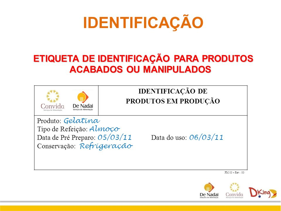 ETIQUETA DE IDENTIFICAÇÃO PARA PRODUTOS ACABADOS OU MANIPULADOS