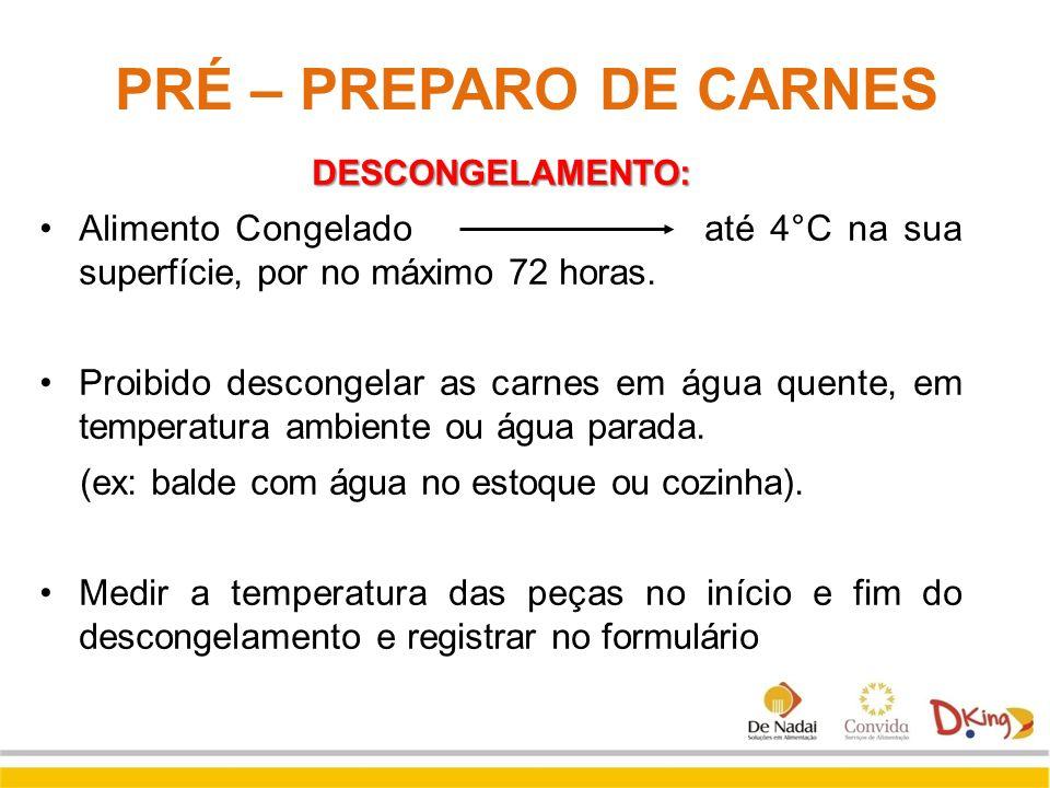 PRÉ – PREPARO DE CARNES DESCONGELAMENTO: Alimento Congelado até 4°C na sua superfície, por no máximo 72 horas.