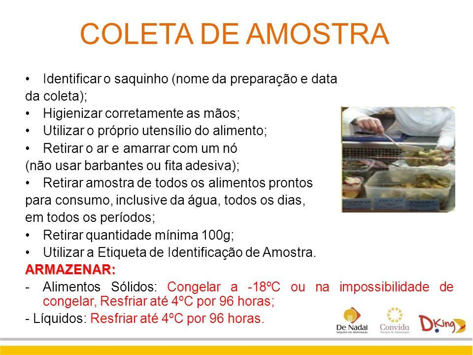 COLETA DE AMOSTRA Identificar o saquinho (nome da preparação e data