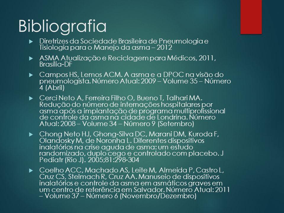 Bibliografia Diretrizes da Sociedade Brasileira de Pneumologia e Tisiologia para o Manejo da asma – 2012.