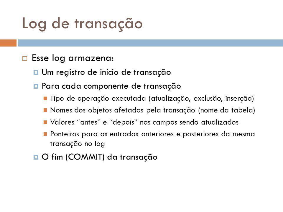 Log de transação Esse log armazena: Um registro de início de transação