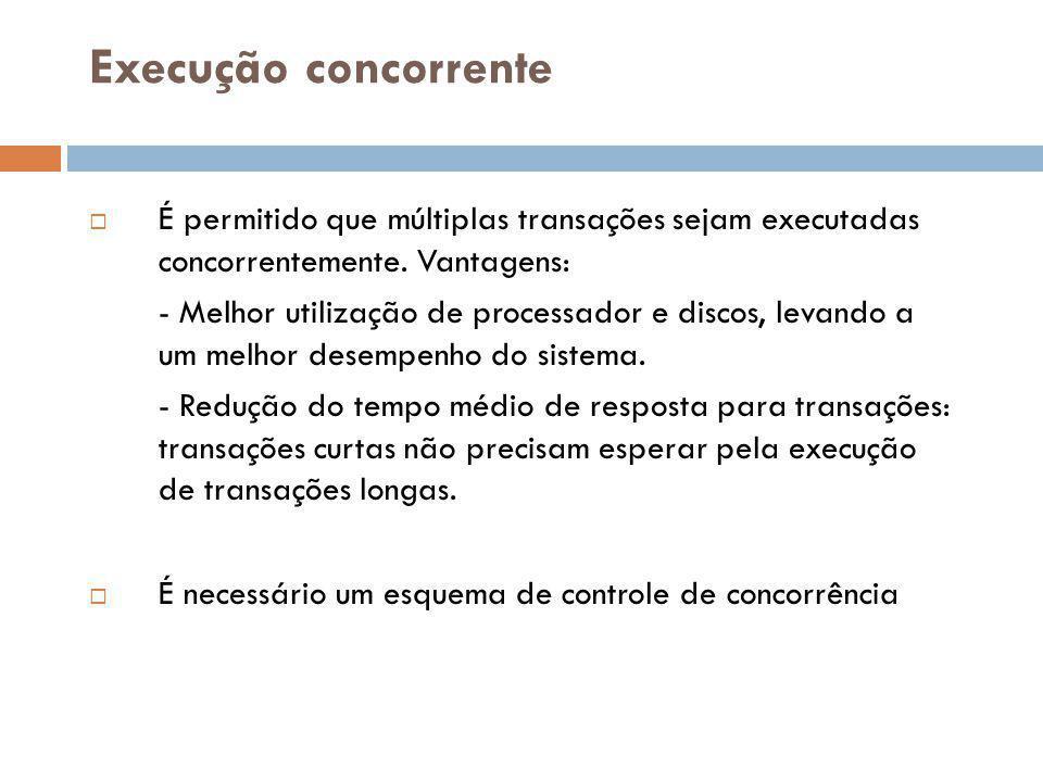 Execução concorrente É permitido que múltiplas transações sejam executadas concorrentemente. Vantagens: