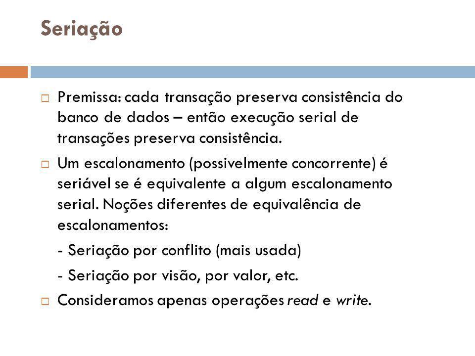 Seriação Premissa: cada transação preserva consistência do banco de dados – então execução serial de transações preserva consistência.